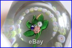 Antique St. Louis Faceted Posy Paperweight Surrounded By Torsade With Arrow