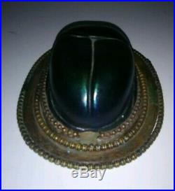 Antique Tiffany Studios Favrile Scarab Lamp Shade Paperweight Art Glass Bronze