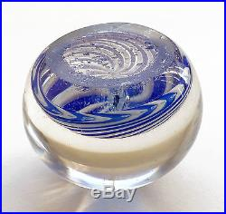Antique ca. 1850 SMALL French CLICHY Glass SWIRL Paperweight with ROSE CANE
