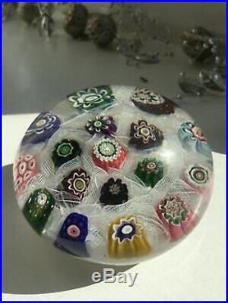 Antique clichy spaced chequer millefiori glass paperweight c1850