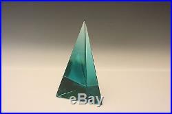 Archimede Seguso Signed Murano Art Glass Obelisk Pyramid Paperweight Desk Piece