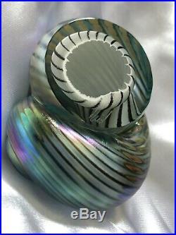 Art Glass Hand Blown Paperweight Artist Michael Reid Iridescent Spiral Shell