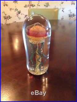 Art Glass Murano Style Jellyfish Paperweight Sculpture