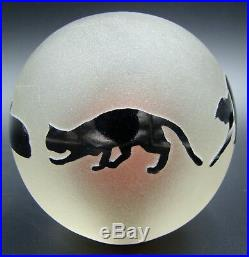 Art Glass Paperweight Black Cats Correia Signed & Numbered RARE