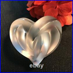Authentic Lalique Frosted Crystal Entwined Knotted Heart Paperweight Collectible