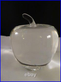 Authentic Steuben Glass Classic Temptation Crystal Apple Paperweight. NO CHIPS