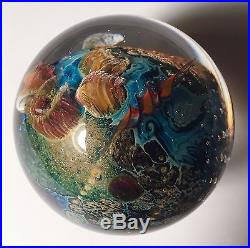 Awesome JOSH SIMPSON Inhabited PLANET ART Glass MARBLE 1.8 Paperweight Related