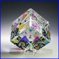 Awesome Optic Crystal Dichroic Glass Paperweight PINWHEELS by Ray Lapsys