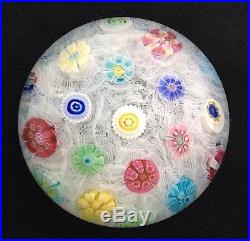 BACCARAT ART GLASS PAPERWEIGHT, SPACED MILLEFIORI ON LATTICINIO, 1971, #675, 3D