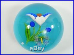 BACCARAT Paperweight 1984 Flower and Butterfly Presse Papier