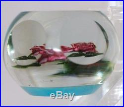 BEAUTIFUL Bob BANFORD Double ROSE Art Glass MULTI-FACETED Paperweight