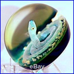 BEAUTIFUL Large PAUL YSART Art Glass SNAKE on Mossy Ground PAPERWEIGHT Studio
