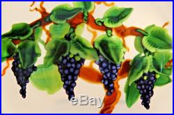 BEAUTIFUL Magnum RANDALL GRUBB Art Glass GRAPES & VINES Clear Ground PAPERWEIGHT