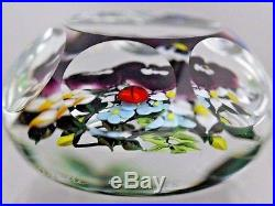 BEAUTIFUL Magnum RICK AYOTTE Faceted PANSY Bouquet LADYBUG Art Glass Paperweight