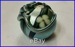 BEAUTIFUL Orient & Flume SNAKE & FLOWERS Art Glass Paperweight Amazing OOAK