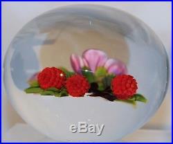 BEAUTIFUL Super Magnum VICTOR TRABUCCO Berries & FLOWERS Art Glass PAPERWEIGHT