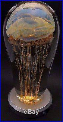 BIG Exotic RICK SATAVA Blue MOON JELLYFISH Art Glass PAPERWEIGHT Sculpture 8.5