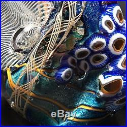 BLUE Hand Blown Glass Paperweight 24K Gold Sculpture Art- Zac Gorell