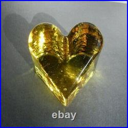BRAND NEW CITRUS Heart Paperweight, Fire and Light Recycled Art Glass. Signed