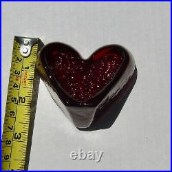 BRAND NEW RED FLOWING HEART Signed Fire and Light Recycled Art Glass