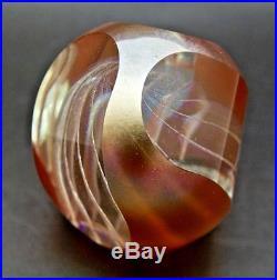 BRIAN MAYTUM Egg Shape Swirl Design Facet Glass Orange Paperweight, Apr 3H x 3W