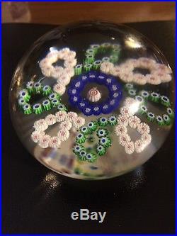 Bacarat Art Glass Looped Millefiori Garland Paperweight