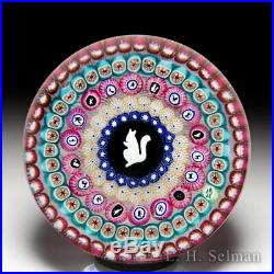 Baccarat 1972 Gridel squirrel and concentric millefiori glass art paperweight
