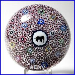 Baccarat 1973 Gridel Series Millefiori Elephant Limited Edition Paperweight