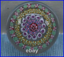 Baccarat Concentric Millefiori Style Glass Paperweight Signed Pastel Canes