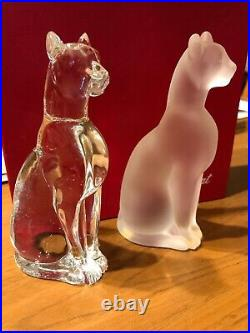 Baccarat France French Crystal Egyptian Sphinx Cat Set, Clear And Frosted