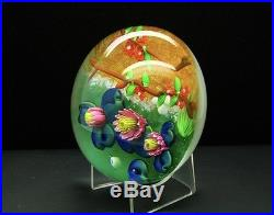 Baccarat Kyoto Lotus Flowers Art Glass Unique Limited Ed Paperweight, 2.3H x 4W