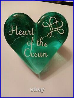 Beautiful Authentic Fire & Light Glass Recycled Signed Heart Paperweight