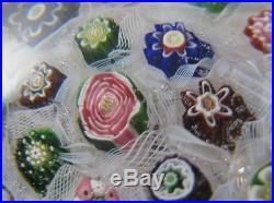 Beautiful Clichy Paperweight w latticino, millifiori and a Rose