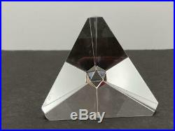 Beautiful Crystal STUEBEN Art Glass TETRAHEDRON Prism Paperweight Signed