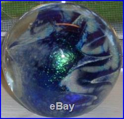 Beautiful! Dichroic Fused Art Glass Signed Paperweight Robert Eickholt 1980