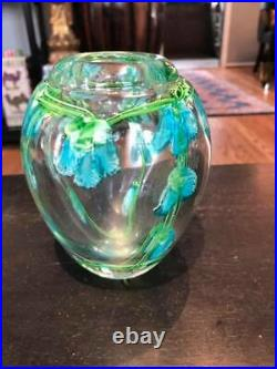 Beautiful Heavy Floral Art Studio Paperweight Vase