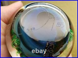 Beautiful Josh Simpson 1993 inhabited planet signed art glass paperweight 3-58