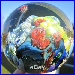 Beautiful Josh Simpson Signed 3 Inhabited Planet Art Glass Paperweight Aquarium