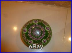Beautiful PARABELLE Colorful Green Mixed MILLEFIORI Art Glass PAPERWEIGHT