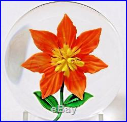 Beautiful RANDALL GRUBB Fully Bloomed FLOWER Art Glass PAPERWEIGHT