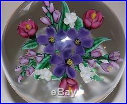 Beautiful RANDALL GRUBB PURPLE BOUQUET of FLOWER Art Glass PAPERWEIGHT
