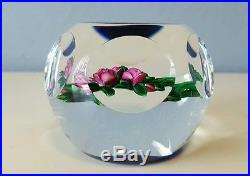 Beautiful RAY BANFORD Purple ROSES Art Glass PAPERWEIGHT Blue & Clear