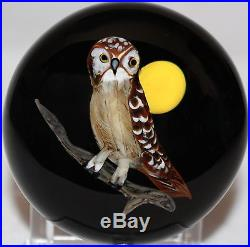 Beautiful RICK AYOTTE Nocturnal OWL with MOON Studio ART Glass PAPERWEIGHT