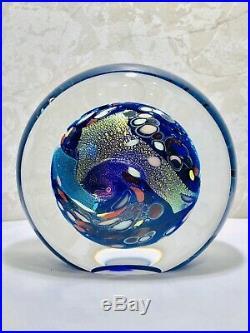 Beautiful Rollin Karg Dichroic Art Glass Paperweight/Sculpture signed 1998