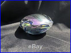 Beautiful Rollin Karg Paperweight Blown Art Glass Sculpture Disc Signed