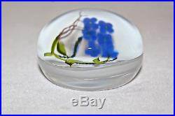 Beautiful STANKARD Early FORGET Me NOT Blooming Flowers ART Glass PAPERWEIGHT