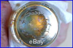 Beautiful Satava Moon Jellyfish Glass Paperweight, Mint Condition, Light Base