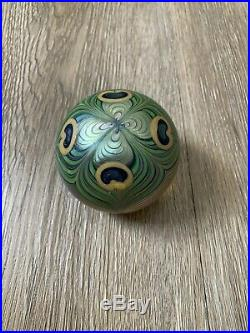 Beautiful Vintage 1979 Orient & Flume Peacock Feather Art Glass Paperweight