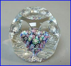 Beautiful Vintage American Fred Ogren Millefiori Cased Faceted Paperweight