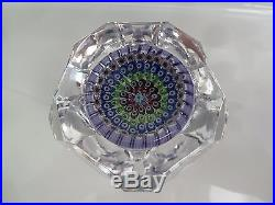 Beautiful WHITEFRIARS Faceted Block Cut Paperweight 1973 Monk Date Cane EC